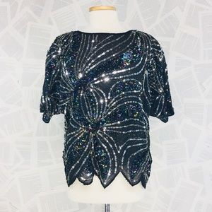 Vintage Party Batwing Sheer Sequin Embroidered Top
